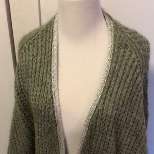 NEW. PURCHASED IN FRANCE. LUXE GREEN LONG CARDIGAN